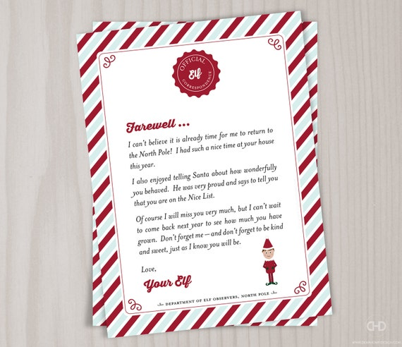 Instant Download Elf Goodbye Letter Christmas Elf Farewell