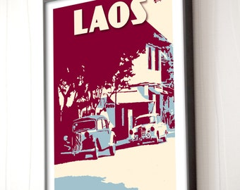 Vintage poster Laos old cars Luang Prabang - Silkscreen Style - Retro - Art Poster - Frameable 30x40cm - Wall Art - decor - Travel - Gift