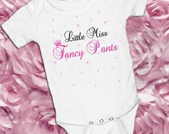 Little Miss FANCY PANTS on a White onsie Snap bottom all in one bodysuit