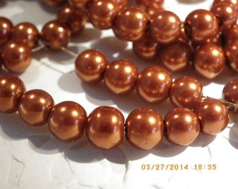 50 glass pearl beads 8 mm with a beautiful orange rust