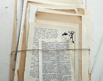 40 Vintage book pages/ Junk journal kit/ 30 different books/ Stained paper/ Scrapbooking and art journaling projects/