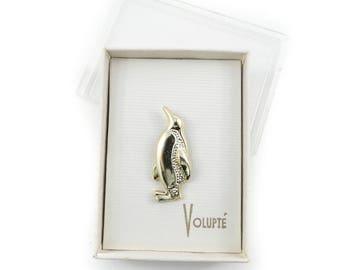 Vintage Volupte, Penguin Brooch, Gold Tone, Original Box, STJ46