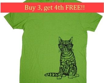 Mens T Shirt - Hipster Cat T Shirt - Animal Tees - Graphical Tees - Screen Print Tees - Mens Short Sleeve Shirt - Mens Shirts  S M L XL 2XL