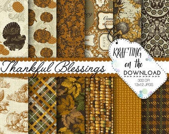thanksgiving paper pack autumn paper pack traditional thanksgiving digital paper antique thanksgiving digital paper pack harvest paper pack