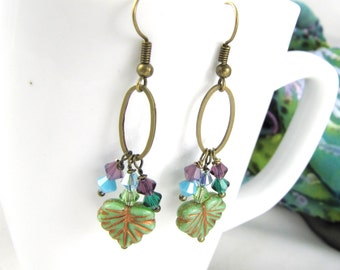dangle earrings Long dangle cluster sage leaf crystals hoop brass winter colors turquoise green purple  one of a kind jewelry