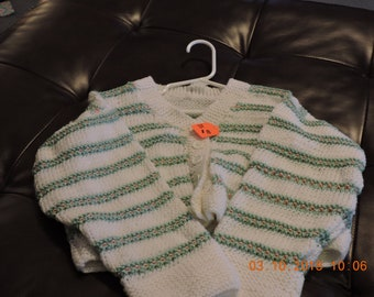 3t green and white button up sweater