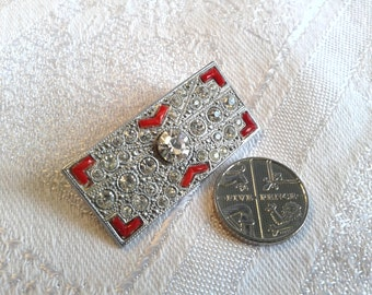 Vintage Art Deco Chrome and Diamante Brooch with Red Enamel.
