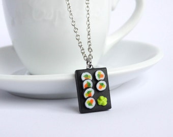 Funny maki sushi necklace charm pendant with wasabi miniature food sushi gift sushi lover present Maki Japanese kawaii