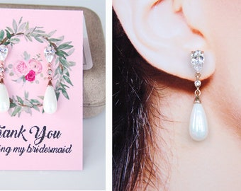 Bridesmaid Earrings Rose Gold Art Deco Pearl Drop Earrings Bridesmaid Jewelry Pearl Earrings Bridesmaid Gifts
