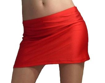 Red spandex hipster mini skirt
