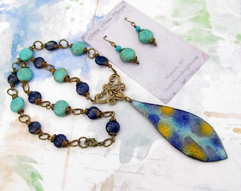 Turquoise Statement Necklace Pendant Necklace Set Bohemian Jewelry Lapis necklace Boho jewelry