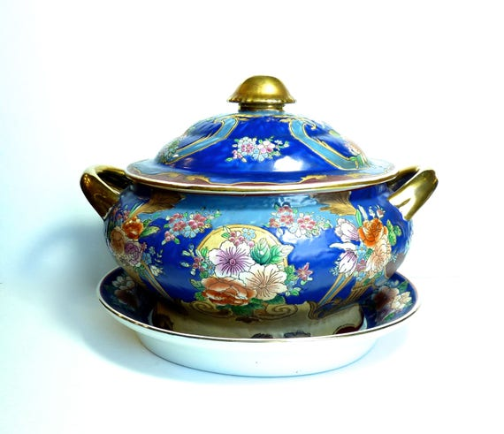 FAMILLE ROSE ~ Chinese Porcelain Soup Tureen With Underplate ~ NON Food Use Covered Tureen With Underplate ~ Mid Century ~ Home Decor