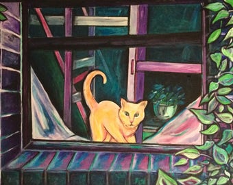 Cat Art - Wall Art - Cat in the Window - Original Painting on Canvas