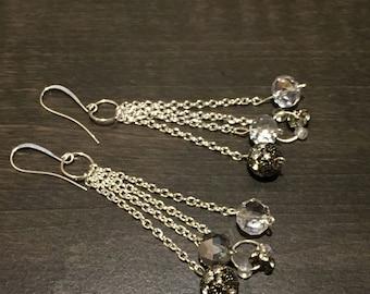 Crystal and bead rhinestone dangle chain silver earrings