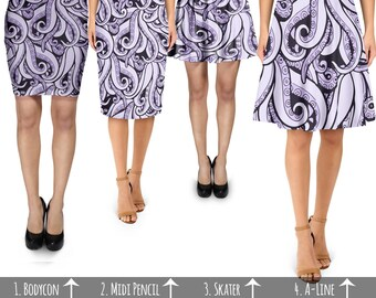 Ursula Disney Villains Inspired - Skirt in Skater Flare, Bodycon Fitted, Flared A-Line, or Midi Pencil style XS-3XL 000951
