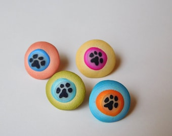 Polymer Clay Tacks, push pins, paw print thumbtacks
