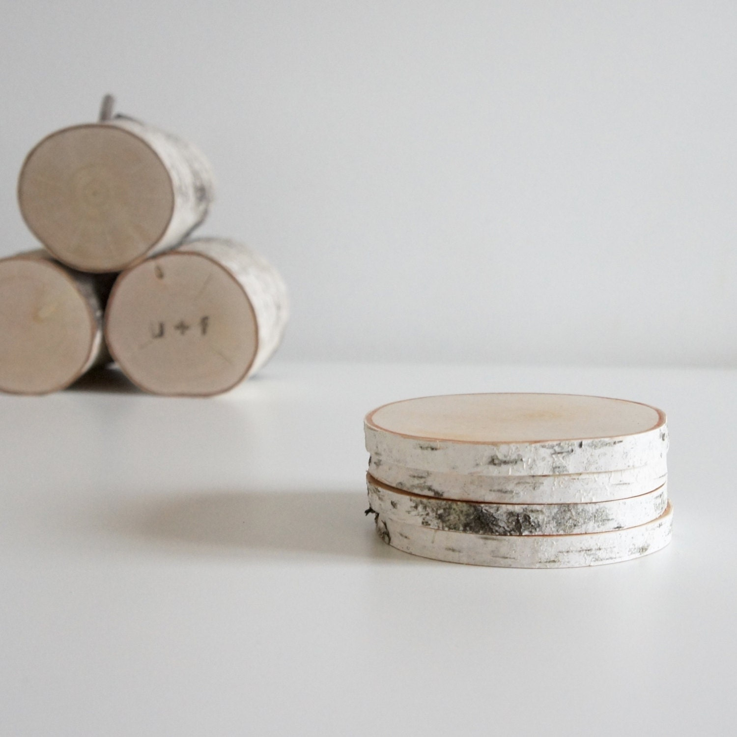 white birch wood coasters - set of 4, birch coasters, wooden coasters, rustic coasters, log coasters, wood slice coasters