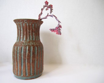 Vintage Textured Pale Blue and Terra Cotta Vase ~ Mid Century art pottery ~Stripes & Dots