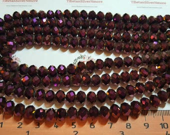 1 strand of 16 inches of 8x6mm Faceted Rondelle Purple metallic Chinese Crystal