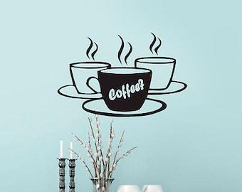 Coffee Tea Cups Kitchen Retro Wall Sticker Vinyl Decal Art Restaurant Pub Decor