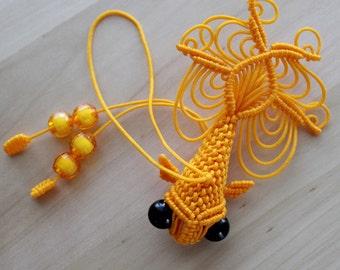 Gold Koi Fish Chinese Knot Cell Phone Charm Key Chain Handmade Beads