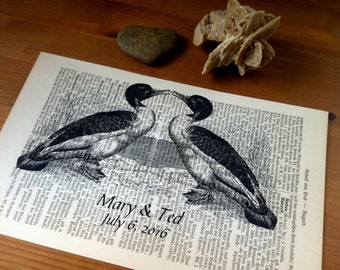 Birds Love Wedding Anniversary Engagement Valentine Gift Personalized Art Print on Antique 1896 Dictionary Book Page