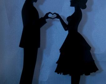 Heart Hands Bride and Groom wedding cake topper - bride and groom wedding cake topper - heart wedding cake topper -  bride and groom