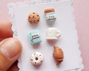 Food Earrings Set - Food Studs Earrings - Foodie Gift for her - Food Jewelry - Cookie Earrings - Blue Earrings