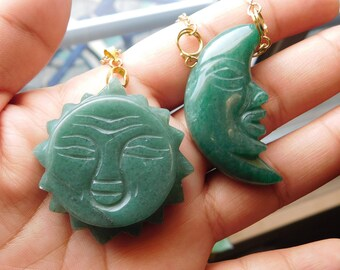 Aventurine Sun&Moon Best Friend Necklace SET