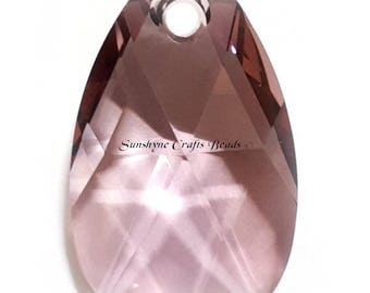 Swarovski Crystal Beads 6106 CRYSTAL ANTIQUE PINK Pear Shaped Pendant 1 Pc - 16mm & 22mm Available