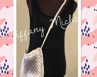 Beige Purse Cross-Body Bag / Satchel / Handmade /Crochet