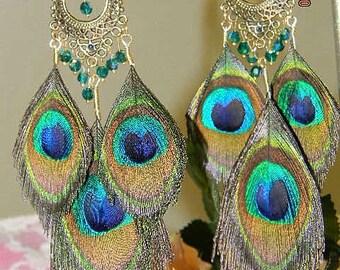 Peacock Feather Chandelier Earrings