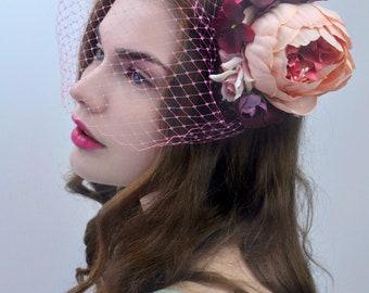 Blush Pink and Plum Flower Hair Clip  | Bridal Headpiece | Floral Headpiece | Bridal Hair Clip | Flower Headpiece | Peony Hair Clip