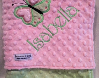 Personalized Monogrammed Butterfly Crib Blanket in Sage Green and Pink Minky