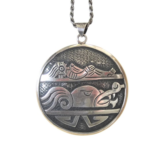 Huge vintage aztec pendant sterling mexico cipactli chacmool mozeypictures Gallery