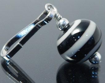 Zipper Pull, grey and black, swirl, zipper pulls for purses, zipper pull charm, beaded zipper pull, decorative pull, artisan made, lampwork