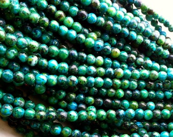 "Chrysocolla Round Beads  3mm   16"" Per Strand"
