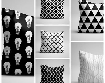 Pillow, Cushion, Black and white ,Pillow cover, Decorative pillow,Gift,Design fabric, Unique design,  16x16 inch