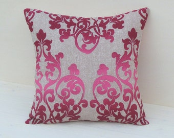 Arabian violet pillow, damask pillow,beige pillow, chic pillow, handmade pillow, gift for her