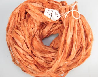 Sari Silk Ribbon, Recycled Silk Sari Ribbon, orange Ribbon, Persimmon sari ribbon, weaving supply, knitting supply, crochet supply