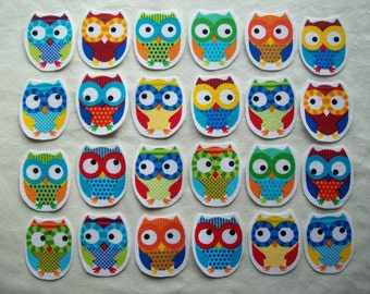 Chubby Fabric Iron On Applique Owls