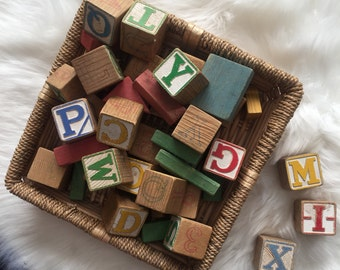 Vintage set of thirty (30) 1-3/4' square children's wooden toy ABC blocks and 14 colored and shaped building blocks vintage toys alphabet