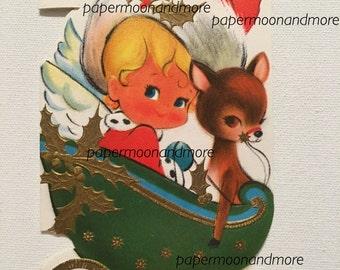 Vintage Card for Mommy, Christmas, Angel in Sleigh, Rheindeer, Midcentury