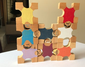 Set of 8 Wooden Strong Men - Stacking Linking Toy