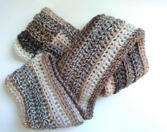 brown and cream crochet infinity scarf