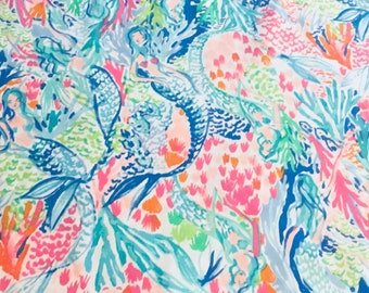 Mermaid's Cove cotton poplin 3 sizes. 6 X 6 inches  , 9 X 18 inches  or 18 X 18 inches ~Lilly Pulitzer 2018 New Print!