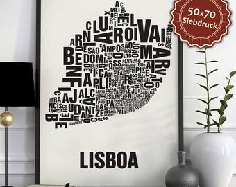 Lisbon / Lisboa Typographic Map Screen Print