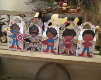 Just the Boys African American Superhero Gable Boxes Set of 15 with Free Shipping