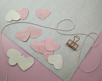 20 PLANTABLE PAPER HEARTS / recycled paper with wildflower seeds / eco friendly wedding favour tags / zero waste handmade seeded paper
