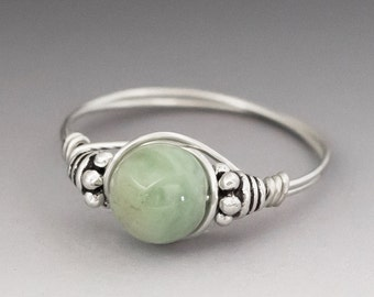 Light Green Aquamarine Bali Sterling Silver Wire Wrapped Bead Ring - Made to Order, Ships Fast!